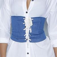 Wholesale Corsets Tied Back - 2017 women denim corsets belt front tie-up back zipper waistband garment adjustable skinny belt women Cummerbund 3 colors