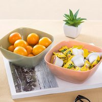 Wholesale Plastic Fruit Dish - Multifunctional Square Salad Bowl Plastic Fruits Dish Snacks Storage Box High Quality Eco Friendly Kitchen Gadgets 40PCS