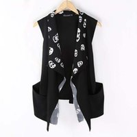 Wholesale Korean Slim Fit Shirt For Men - Wholesale- Fashion Korean Men`s Punk Style Vest Black Slim Fit Skull Leopard Printed Cardigan Sleeveless Shirts For Men