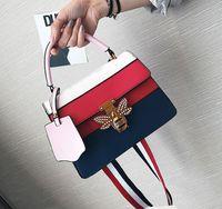 Wholesale Buckle Messenger Bags - 2017 fashion 5 color small square bag tide summer new handbag female diamond bee lock buckle shoulder Messenger bag