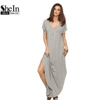 Wholesale Rolls Ankle - Wholesale- SheIn Women Summer Casual Shift Dresses Womens Plain Grey V Neck Short Sleeve Rolled-cuff Pockets Split Maxi Dress