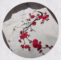 Wholesale Diy Clothes Dress Flowers - Multicolor Flowers Plum Embroidered Sewing Patches Iron on Sticker Patch For Clothes Clothing Jacket Applique DIY Wedding Dress Decorations