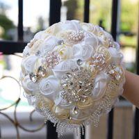 Wholesale Pearl Crystal Wedding Bouquets - 2017 New Bridal Bouquet Lace Edge Artificial Satin Flowers Beading Crystal Wedding Bouquets With Pearls Brides Bouquets