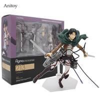figuras de ação de titã de ataque venda por atacado-Ataque em Titã Shingeki não Kyojin Rivaille Figma 213 Encaixotado PVC Action Figure Modelo Coleção Toy 6