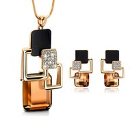 Wholesale European Jewelry Sets - European and American fashion personality Golden Hollow Geometric Big Crystal Stone Jewelry Sets for women Party Accessories