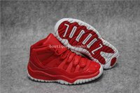 Wholesale Kids Clipper - Kids Air retro 11 Clippers red basketball Shoes Air retro 11 Space Jam retro 11s Sneakers Kids Size 28-35 Come With Box