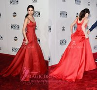 Wholesale Music Carpet - Selena Gomez Red Satin Celebrity Ball Gown Prom Evening Dresses 2016 American Music Awards A-Line Scoop Ruffled Long Celebrity Party Gowns