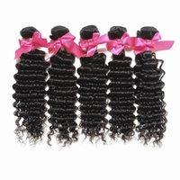 Wholesale Deep Wave Human Hair 5pcs - Halo Lady Human Hair Weaves Double Weft Brazilian Virgin Hair Bundles 5Pcs Lot Deep Wave Unprocessed Hair Extensions Free Shipping