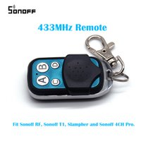 Wholesale 4ch Rf Remote Control - Sonoff 433mHZ Remoter Control For RF 4CH Pro Slampher T1 UK C1 C2 C3 Wireless Wifi Switch For Smart Home Automation Relay Module
