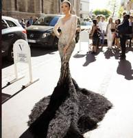 Wholesale Homecoming Dresses Zuhair Murad - Evening dress Yousef aljasmi Kim kardashian Long sleeve V-Neck Mermaid Ostrich Long dress Almoda gianninaazar Kylie Jenner Zuhair murad