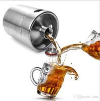 Wholesale Metal Beer Kegs - Homebrew Growler 2L Keg Stainless Steel Beer Growler Beer Keg Screw Cap Wine Pot Beer Barrel 30pcs