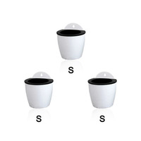 Wholesale modern decoration white vase - 3 Pack Elegant White Plastic Self Watering Wall Planter Hanging Planter White Flower pot For Home Decoration-Small