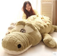 Wholesale Girl Crocodile Toy - Wholesale- 1piece 55cm New Arrival Stuffed animals Big Size Simulation Crocodile Plush Toy Cushion Pillow Toys For Girl Free Shipping