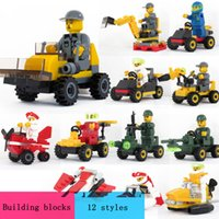 Wholesale Enlighten City - ENLIGHTEN City Construction Road Roller Forklift Truck Tractor Sweeper Truck Building Block Kids Toy Compatible Puzzle assembly child toy