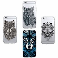 ingrosso mela lupo-Per iPhone 7 7Plus 6 6S 6Plus 8 8Plus X SAMSUNG Galaxy Fashion Wolf Animali Boho Soft Clear Cassa del telefono Fundas Coque