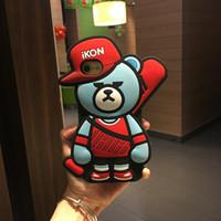 Wholesale Teddy Bear Plastic Cover - Cell Phone cases for iPhone 7 cute Cartoon 3D Teddy bear Gel soft Cases Soft Silicone Back Cover for iPhone 7 6S plus free shipping