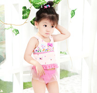 Wholesale Butterfly Tank - Baby Girls princess swimwear kids butterfly polka dots print tank top+tulle tutu skirt 2pcs sets bathing suit children beach swimsuit R0649