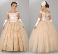 Wholesale Simple Dresses For Pageants - 2017 Simple Sleeveless off-shoulder Jewel Applique Sweep Train Ball Gown Flower Girls Pageant Dresses For teen gril's Birthday Party Gowns