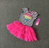 Wholesale Sheath Dress Kids - Superwoman new short sleeved striped baby dress 3-8 years old student net yarn princess dance beach casual skirt kid clothes L171