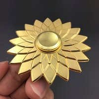 Wholesale Wholesale Toy Flowers - Metal Lotus Fidget Spinners Flower Spinner 4 Colors Hand Spinner Zinc Alloy Spinners EDC Anti-stress Decompression Fidget Toy