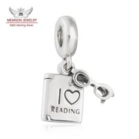 Wholesale Charm Frame Bead - Memnon Jewelry 925 Sterling Silver I Love Reading Dangle Glasses Frame and Book Pendant Charm Beads For Jewelry Making DIY Accessories DA187