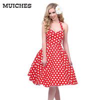 Wholesale Pinup Mini Dress - Wholesale- 2016 Hot sale Deep V-Neck Polka Dot Swing 50's Housewife Pinup Dress Three color Rockabilly Vintage sleeveless mini Dresses
