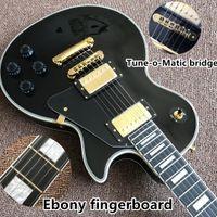 ponts de guitare de qualité achat en gros de-Nouvelle arrivée de haute qualité Custom Shop Black Color Guitare électrique avec touche ACONY et mélodie pont matica gutiarra