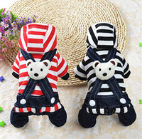Wholesale Dog Clothes Bear - Stripe Denim Pet Clothing Dog Jumpsuit Rompers Overalls Bear Puppy jumpsuits Clothes Autumn Winter Chihuahua Sweatercoat Slip Dress