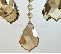 Wholesale Glass Suncatcher - 10pcs lot , 38mm gold champagne color crystal glass maple leaf prism chandelier parts pendant suncatcher free shipping