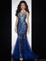 Wholesale Diamond Evening Gowns - Sexy Mermaid Sweetheart Open Back Crystals Beaded Sequined Diamond Organza Prom Gown Royal Blue Evening Dresses with Crystal