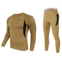 Wholesale Polartec Cycling - Wholesale- Men Ski Jacket and Pants Thermal Underwear Men Long Johns Quick Dry POLARTEC For Ski Riding Climbing Cycling