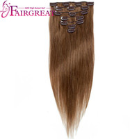 Brésilien Péruvien Indien # 6 Straight Human Hair Extensions 7pcs / set Non Remy Clip-in Full Head Virgin webrands Prix de gros