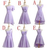 Wholesale Short Bridesmade Dresses - short lilac lavender bridesmade bridesmaids a line dress knee length gown event mixed a line bridesmaid dresses chiffon B3770