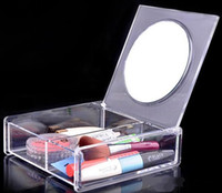 Wholesale Crystal Clear Storage Boxes - Fashion Square 2 space Transparent Crystal Storage Box makeup Organizer Cosmetic Acrylic Clear Jewelry Display Case with Mirror DHL 48pcs