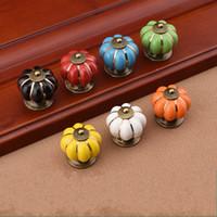 Wholesale Wholesale Ceramic Pumpkins - 2dr Rainbow Ceramics Door Handles Pumpkin Cartoon Doorknobs For Cupboard Drawer Rural Pull Handle Modern Simple Factory Direct Sales