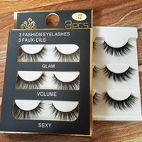 Wholesale Wholesale Fake Accessories - 3 Pairs Long Cross False Eyelashes Makeup Natural 3D Fake Thick Black Eye Lashes - Beauty Makeup Accessories