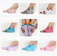 Wholesale Colorful Socks Toes - 5-Toe Yoga Socks Sports Socks Half Toe Summer Women Girl Colorful Yoga Gym Non Slip Massage Toe Socks Fitness Full Grip Activing 402