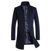 Wholesale Mens Wool Cashmere Blend Overcoats - Wholesale- Thick Wool Coat Men 2016 Winter Brand Wool Blends Cashmere Coat Men Slim Fit Mens Pea Coat Fashion Manteau Homme Overcoat Black