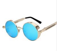 Wholesale Retro Items - Round Metal Sunglasses Steampunk Men Women Fashion Glasses Brand Designer Retro Vintage Sunglasses UV400 Stars Rihanna Same Items