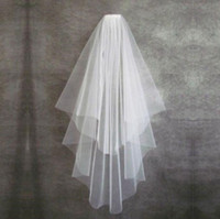 Wholesale Ivory Wedding Veil Cut Edge - Cheapest 2017 Two Layers Bridal Veils White Tulle Short Bride Wedding Veil With Comb Ribbon Edge Bridal Accessories without Comb
