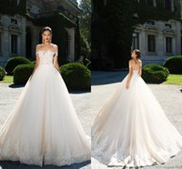 Wholesale Simple Elegant Cheap Ball Gowns - Gorgeous Elegant Off the Shoulder A Line Tulle Wedding Dresses 2017 Lace Appliques Illusion Back Ball Gown Long Train Bridal Gowns Cheap