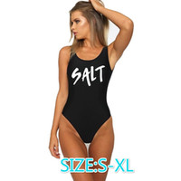 Wholesale Low Back Bodysuit - Free shippingWomen Sexy Swimsuit Salt Letter Printed One-Piece Bathing Suit High Cut Low Back Bodysuit Swim Suits Swimwear Jumpsuits Rompers