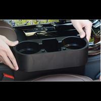 kunststoff-handy-halter großhandel-Auto Sitz Gap Aufbewahrungsbox Schwarz Kunststoff Auto Wasser Tasse Handy Tasche Veranstalter Automoibe Sitz Gap Halter Verstauen Aufräumen
