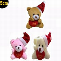 "Wholesale Teddy Bear Handbags - Wholesale- 20pcs x 5cm(2"") Miniature Tiny Small Lovely Sitting Christmas Teddy Bear With Hat and LOVE Heart for Craft Phone Handbag Charm"