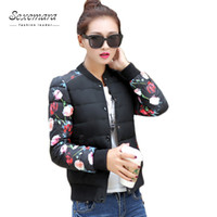 Wholesale College Outerwear - Wholesale- Stand Collar Plus Size 2016 Women College Flower Printing Autumn Bomber Tops Varsity Manteau Femme Basic Outerwear Coat Jacket