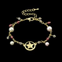Wholesale Pink Round Pearl Bracelet - Gold-Color Link Chain With White Pink Color Simulated-pearl Round Star Shape Colorful Beaded Jewelry Charm Bracelets