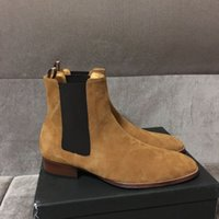 Wholesale Black Knee Wedge Boots - Real Picture luxury famous design handmade customized Man Paris suede leather Slip-on Chelsea boots genuine leather men shoes slp shoes
