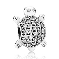 Wholesale Pandora Sea - Authentic 925 Sterling Silver Bead Charm Cute Sea Turtle With Full Crystal Beads Fit Women Pandora Bracelet Bangle DIY Jewelry HKA3323