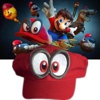 Wholesale Super Mario Cosplay Hat - Game Super Mario Odyssey Hat Adult Kids Anime Cosplay Cap Handmade