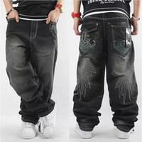 pantalones anchos al por mayor-Al por mayor-2017 Mens Baggy Jeans Hombres pantalones de mezclilla de pierna ancha Hip Hop 2017 Nueva bordado de moda Skateboarder Jeans envío gratis cholyl